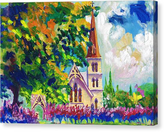 Anglican White Church In Summer Canvas Print