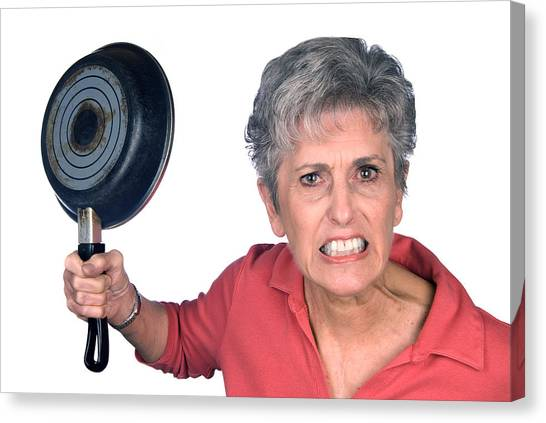 Angry Mother And Frying Pan Canvas Print