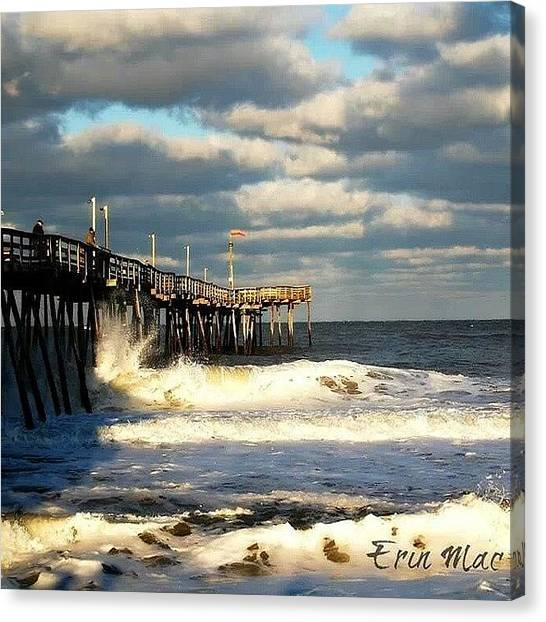 Mac Canvas Print - Angry #ocean And Beautiful #clouds by Erin Mac