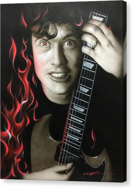 Ac Dc Canvas Print - Angus On Fire by Christian Chapman Art