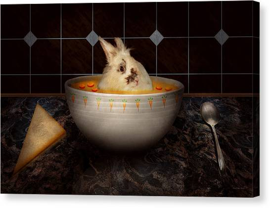 Fuzzy Canvas Print - Animal - Bunny - There's A Hare In My Soup by Mike Savad