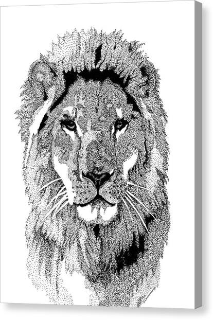 Pointillism Canvas Print - Animal Prints - Proud Lion - By Sharon Cummings by Sharon Cummings