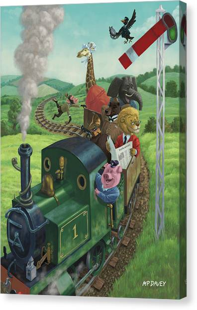 Animal Train Journey Canvas Print