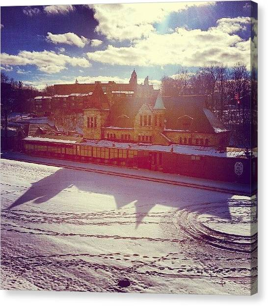 Snowboarding Canvas Print - Ann Arbor Train Station by Jill Tuinier
