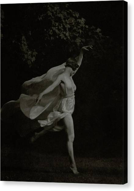 Arms Outstretched Canvas Print - Anna Duncan In Character As A Wood Nymph by Arnold Genthe