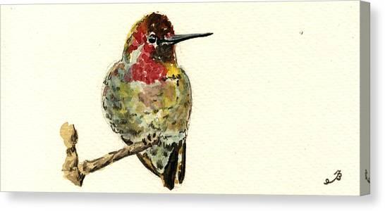 Hummingbirds Canvas Print - Anna S Hummingbird by Juan  Bosco