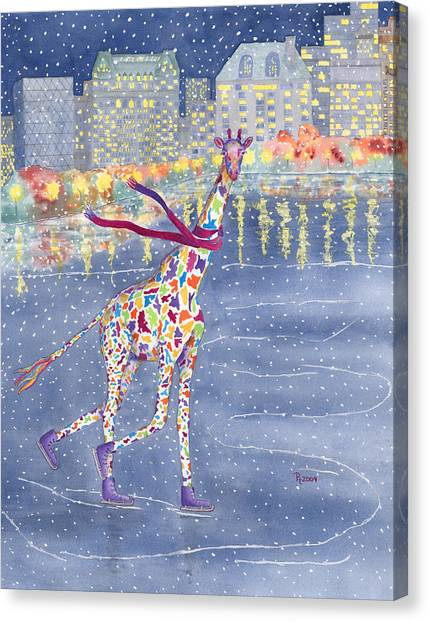 Giraffes Canvas Print - Annabelle On Ice by Rhonda Leonard