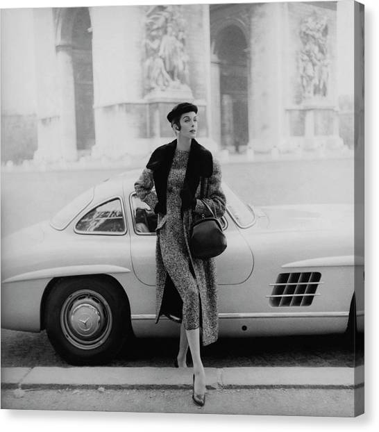 Fashion Canvas Print - Anne St. Marie By A Mercedes-benz Car by Henry Clarke
