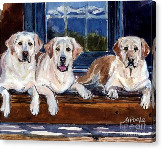 Yellow Lab Canvas Print - Annie And Her Sisters by Molly Poole