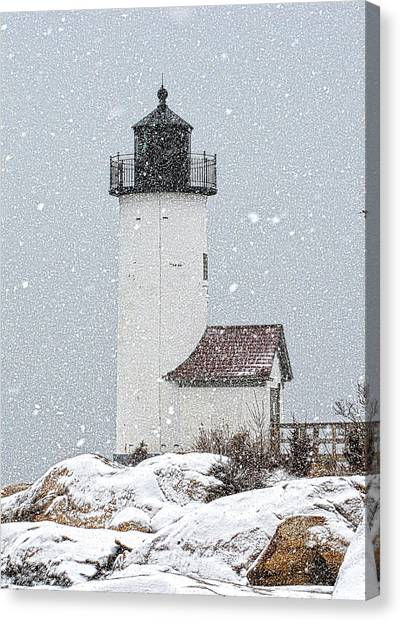Canvas Print featuring the photograph Annisquam Light-snow Storm 1 by Michael Hubley