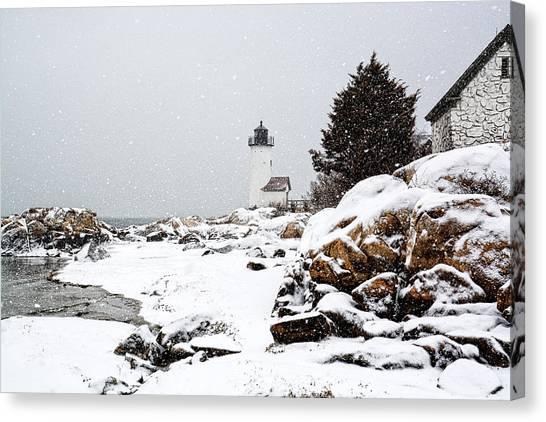 Annisquam Light-snow Storm Canvas Print