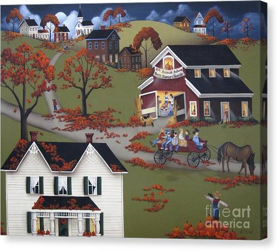Scarecrows Canvas Print - Annual Barn Dance And Hayride by Catherine Holman