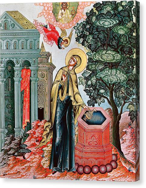 The Annunciation Canvas Print - Annunciation At The Fountain by Russian School