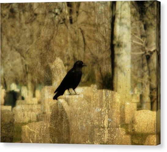 Ravens In Graveyard Canvas Print - Another Day For Crow In The Graveyard by Gothicrow Images
