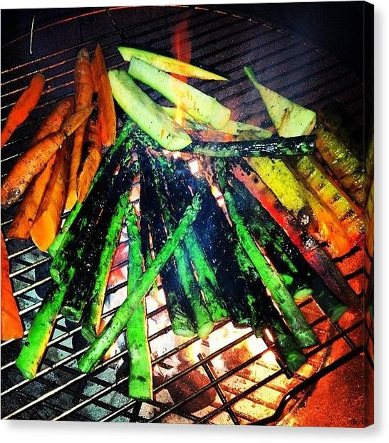 Asparagus Canvas Print - Another From Last Nights Veg Fest  #bbq by Ray Jay