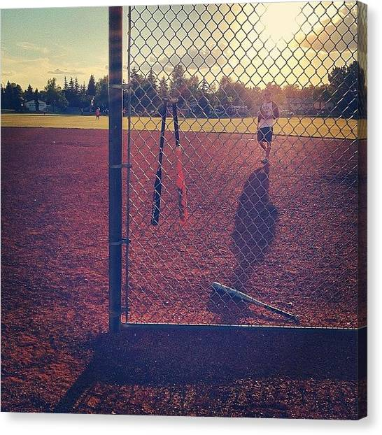 Softball Canvas Print - Another Shot For The @binstinctsgroup by Robyn Chell