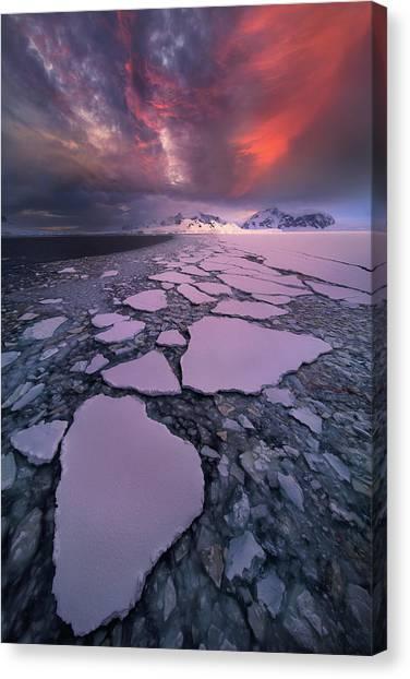 Winter Sky Canvas Print - Antarctica Fire by Victor Liu