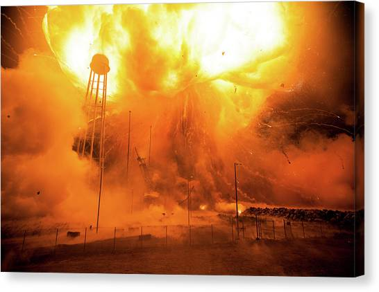 Atlantic 10 Canvas Print - Antares Rocket Explosion by Nasa/joel Kowsky