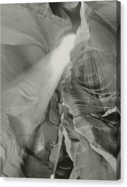Antelope Canyon Light Black And White Canvas Print