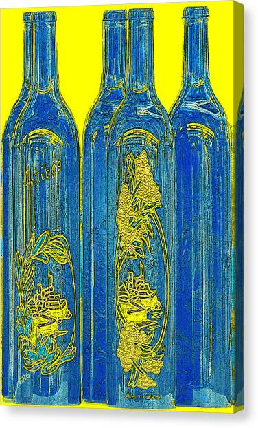 Antibes Blue Bottles Canvas Print