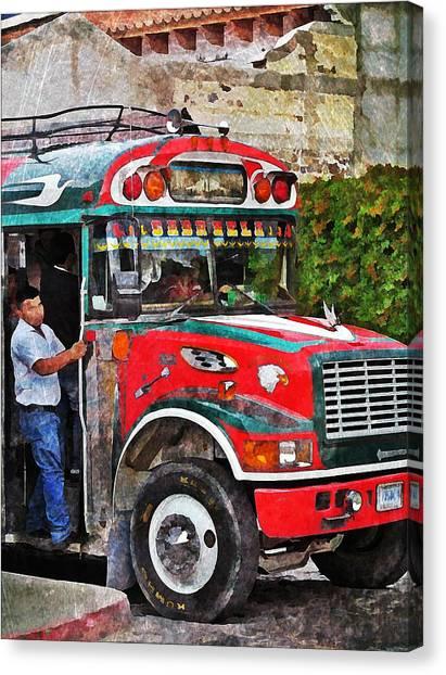 Antigua Bus Stop Canvas Print