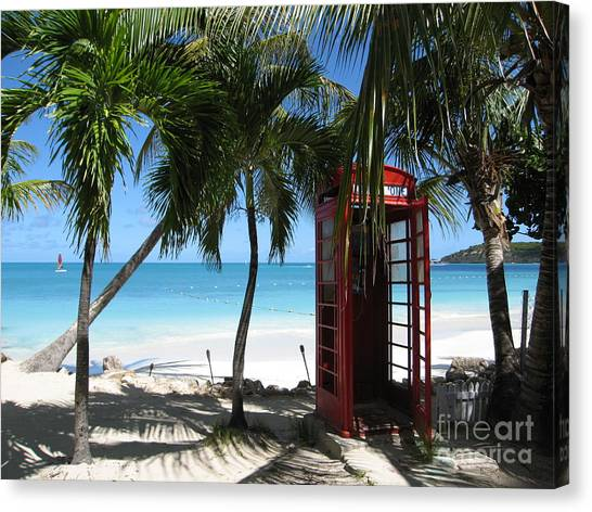Antigua - Phone Booth Canvas Print
