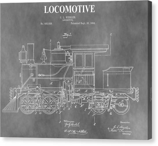 Train Conductor Canvas Print - Antique 1892 Train Patent by Dan Sproul