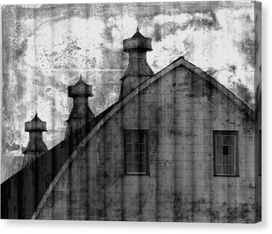 Antique Barn - Black And White Canvas Print