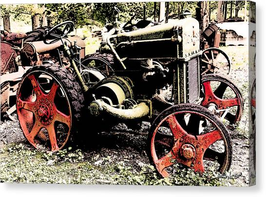 Antique Case Tractor Red Wheels Canvas Print