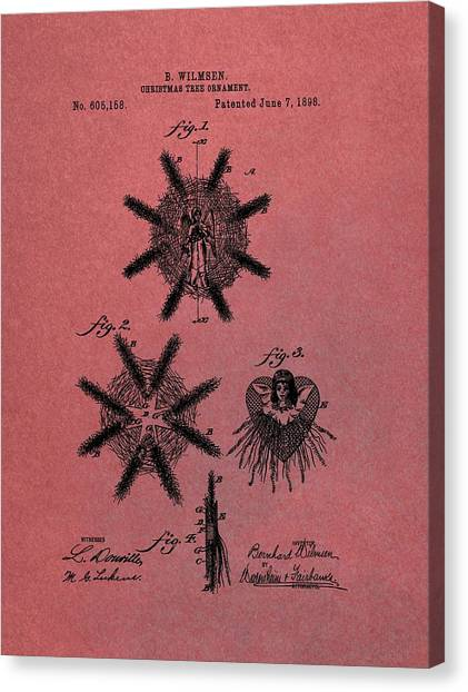 Santa Claus Canvas Print - Antique Christmas Tree Ornaments Patent by Dan Sproul