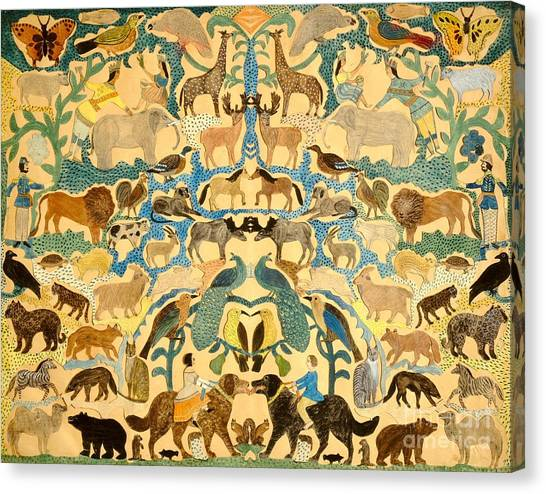Camels Canvas Print - Antique Cutout Of Animals  by American School