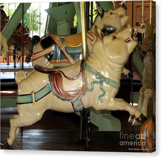 Canvas Print featuring the photograph Antique Dentzel Menagerie Carousel Pigs by Rose Santuci-Sofranko