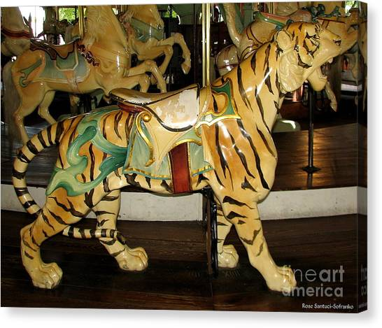 Canvas Print featuring the photograph Antique Dentzel Menagerie Carousel Tiger by Rose Santuci-Sofranko
