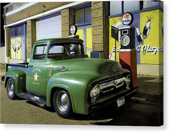 Ford Truck Canvas Print - Antique Ford Pickup by Dave Dilli