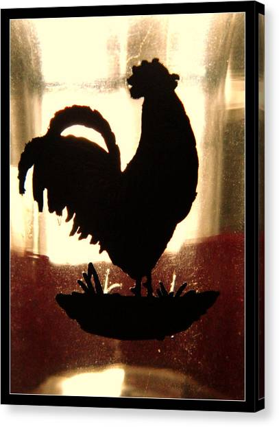 Antique Glass Chicken Silhouette Canvas Print