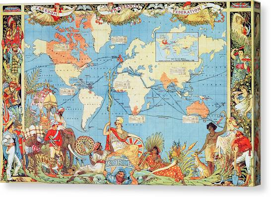 Fraternity Canvas Print - Antique Illustrated Map Of The World by Anonymous