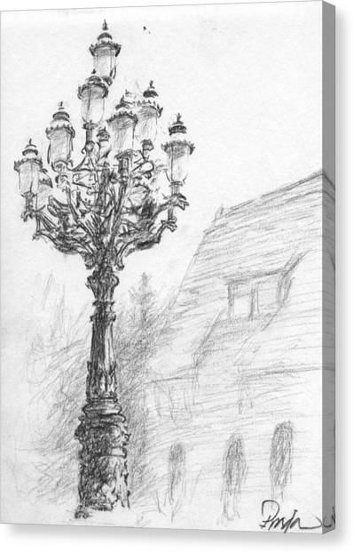 Antique Lampost Canvas Print by Horacio Prada