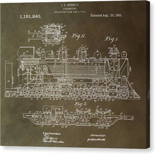 Train Conductor Canvas Print - Antique Locomotive Patent by Dan Sproul