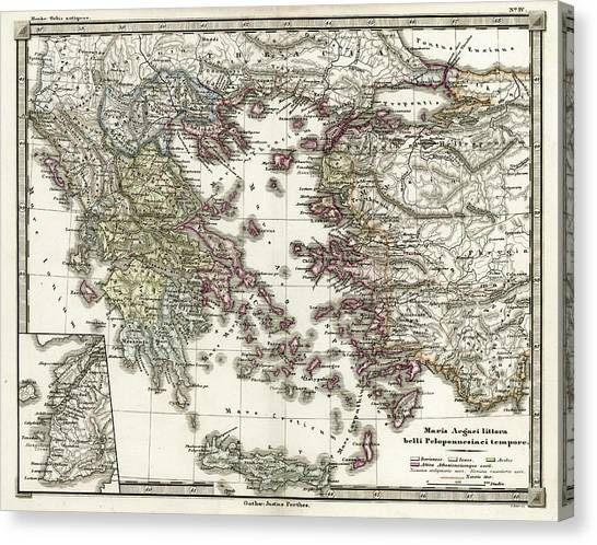 Antique Map Of Ancient Greece Canvas Print