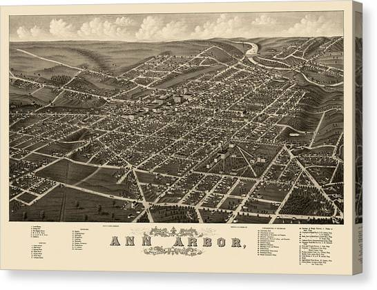 Arbor Canvas Print - Antique Map Of Ann Arbor Michigan By A. Ruger - 1880 by Blue Monocle