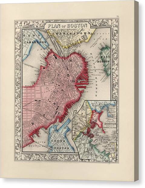 Old Canvas Print - Antique Map Of Boston Massachusetts By Samuel Augustus Mitchell - 1863 by Blue Monocle