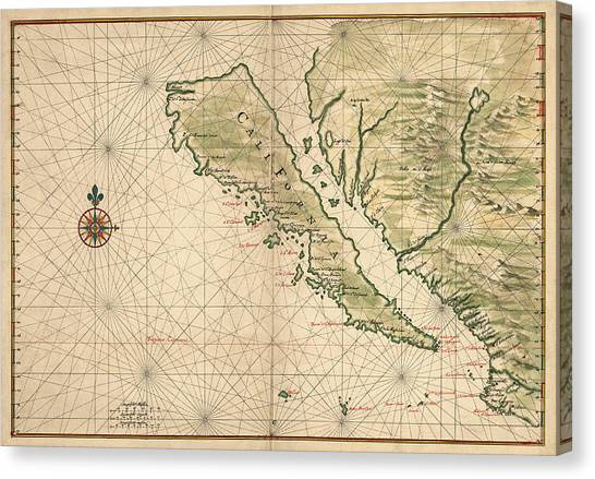 Baja California Canvas Print - Antique Map Of California As An Island By Joan Vinckeboons - 1650 by Blue Monocle