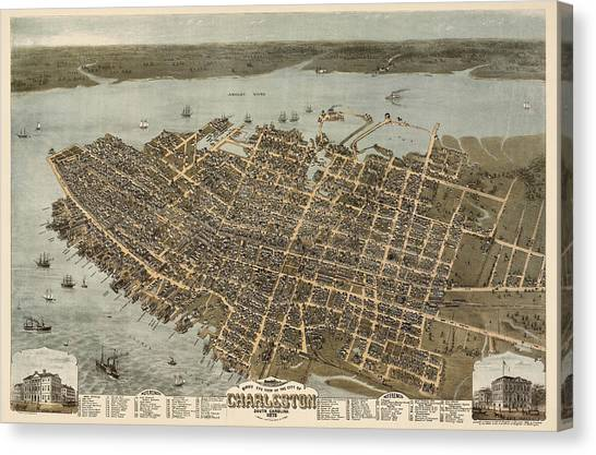 Antique Map Of Charleston South Carolina By C. N. Drie - 1872 Canvas Print
