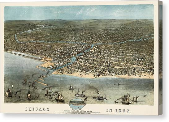 Vintage Chicago Canvas Print - Antique Map Of Chicago Illinois By A. Ruger - 1868 by Blue Monocle