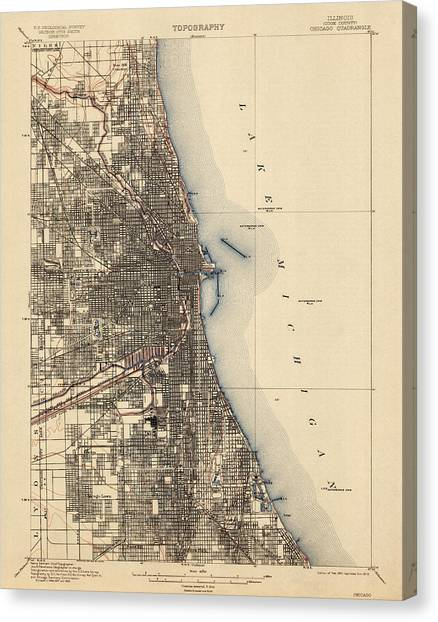 Antique Map Of Chicago - Usgs Topographic Map - 1901 Canvas Print