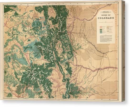 Antique Map Of Colorado - 1877 Canvas Print by Blue Monocle