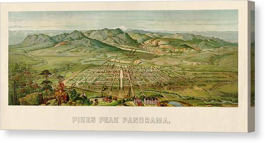 Spring Canvas Print - Antique Map Of Colorado Springs By H. Wellge - 1890 by Blue Monocle