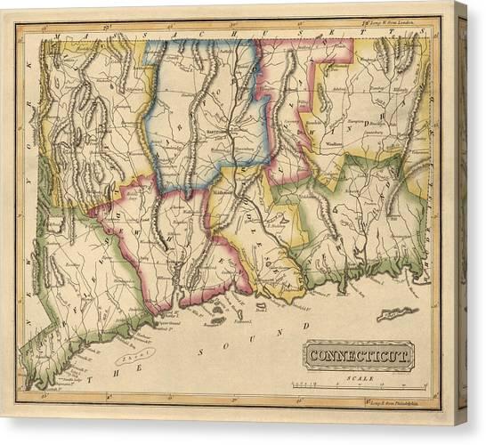 Connecticut Canvas Print - Antique Map Of Connecticut By Fielding Lucas - Circa 1817 by Blue Monocle