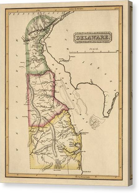 Antique Map Of Delaware By Fielding Lucas - Circa 1817 Canvas Print by Blue Monocle