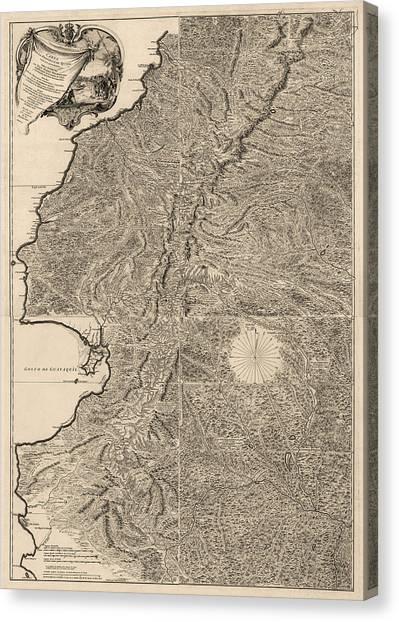 Ecuadorian Canvas Print - Antique Map Of Ecuador By Pedro Vicente Maldonado - 1750 by Blue Monocle